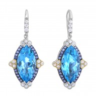 18kt Yellow Gold Silver Rhod.37x17mm Shiny 18x9mm Marquise Sky B.T. 1.2mm Rd.Iolite 1.6mm 1.8mm 2mm White Sapphire Drop Earring with Euro Wire Clasp