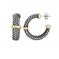 18kt Yellow Gold Oxidized Silver 7mm Domed Woven 3 /4 Moon Post Earring with Bar Element Push Back Cl asp