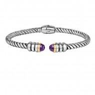 18Kt Yellow Gold Sterling Silver Twisted Patterned Cuff Bangle with Amethyst On Each Side.