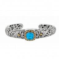 "18Kt Yellow Gold Sterling Silver Oxidized Blue Topaz Byzantine Cuff Bangle. Timeless ""Byzantine"" Collection."