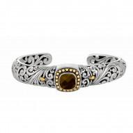 "18Kt Yellow Gold Sterling Silver Oxidized Smokey Quartz Byzant Ine Cuff Bangle. Timeless ""Byzantine"" Collection."