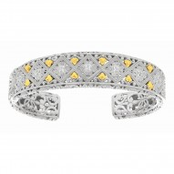 18K Ag.21Ct 14-17.2mm Yellow Gold Rhod. P Diamond Pattern Top Adjustable Gradua Ted Cuff Bangle withyg Fleur De Lys