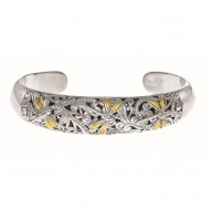 18Kt Yellow Gold Oxidized Sterling Silver 0.25Ct. Diamond Dragonfly Cuff Bangle