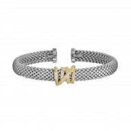 18kt Silver with Rhodium Finish 7mm Popcorn Textur ed Domed Cuff Bangle with Center Coil with 0.13ct. Diamond Element
