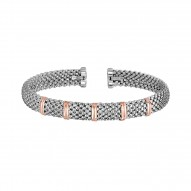 18kt Rose Gold Silver with Rhodium Finish 7mm Popc orn Textured Cuff Bangle with 5 Gold Elements