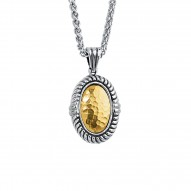 18Kt Yellow Gold Sterling Silver Oval Hammered Pendant with Ri Dged Trim. Chain Sold Separately.