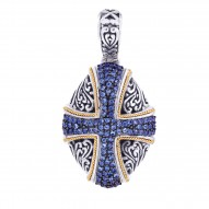 """18Kt Yellow Gold Sterling Silver Oxidized Blue Sapphire Cross Theme Pendant. Timeless """"Byzantine"""" Collection."""
