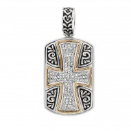 "0.52Ct. Diamond 18Kt Yellow Gold Sterling Silver Oxidized Cros S Theme Pendant. Timeless ""Byzantine"" Collection."