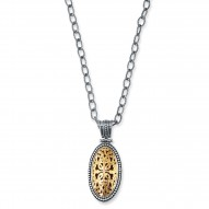 "18Kt Yellow Gold Sterling Silver Oxidized Oval Byzantine Penda Nt. Chain Sold Separately. Timeless ""Byzantine"" Collection."