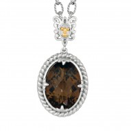 """18Kt Yellow Gold Oxidized Silver 18X13mm Oval Smokey Quartz Pendant On 18"""" Silver with Oxidize Finish Textured Link Chain with Lobster Clasp"""