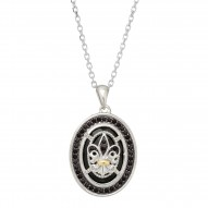 """18Kt Yellow Gold Silver with Rhodium Finish Oval Ag 18"""" Cable Link Ceted White Diamond """"Philip Gavriel Collection"""