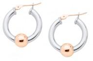 SS/RG Cape Cod Bead Hoop Earrings