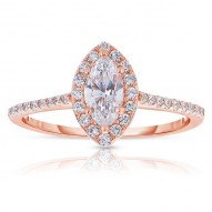 Rm1301m-14k White Gold Marquise Cut Halo Diamond Engagement Ring