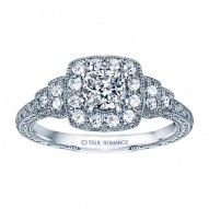 Rm1360cu -14k White Gold Cushion Cut Halo Diamond Vintage Engagement Ring