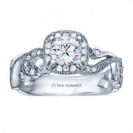 Rm1432-14k White Gold Vintage Engagement Ring