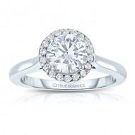 Sol102tt-14k White Gold Round Cut Halo Diamond Engagement Ring