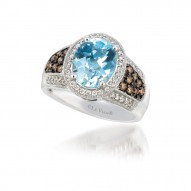 SUTS 115 14k Vanilla GoldSea Blue AquamarineRing with Chocolate Diamondsand Vanilla Diamonds