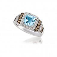 SUTS 31 14k Vanilla GoldSea Blue AquamarineRing with Chocolate Diamondsand Vanilla Diamonds