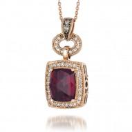 SUTS 92 14k Strawberry GoldRaspberry RhodoliteNecklace with Chocolate Diamondsand Vanilla Diamonds