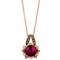 WIMX 181 14k Strawberry GoldRaspberry RhodolitePendant with Chocolate Diamondsand Vanilla Diamonds