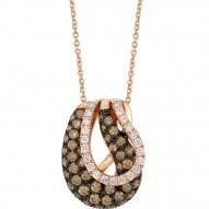 WIUB 6 14k Strawberry GoldGladiatorWeave™ Pendant with Chocolate Diamondsand Vanilla Diamonds