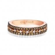 YPVR 253 14k Strawberry GoldRing with Chocolate Diamondsand Vanilla Diamonds