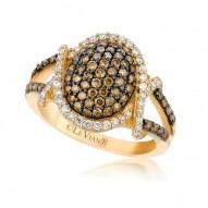 YPVR 272 14k Vanilla GoldFramed Clusters™ Ring with Chocolate Diamondsand Vanilla Diamonds