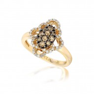 YPVR 41 14k Honey Gold™ Framed Clusters™ Ring with Chocolate Diamondsand Vanilla Diamonds
