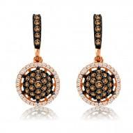 YPWL 93 14k Strawberry GoldFramed Clusters™ Earrings with Chocolate Diamondsand Vanilla Diamonds