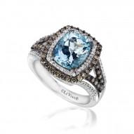 YPWP 22 14k Vanilla GoldSea Blue AquamarineRing with Chocolate Diamondsand Vanilla Diamonds