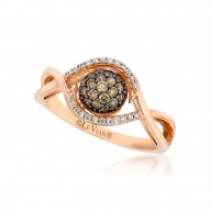 YQEN 22 14k Strawberry GoldFramed Clusters™ Ring with Chocolate Diamondsand Vanilla Diamonds