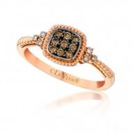 YQEN 28 14k Strawberry GoldFramed Clusters™ Ring with Chocolate Diamondsand Vanilla Diamonds