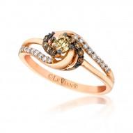YQEN 43 14k Strawberry GoldSinuous Swirls™ Ring with Chocolate Diamondsand Vanilla Diamonds