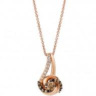 YQEN 44 14k Strawberry GoldSinuous Swirls™ Pendant with Chocolate Diamondsand Vanilla Diamonds