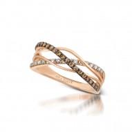 YQEN 7 14k Strawberry GoldGladiatorRing with Chocolate Diamondsand Vanilla Diamonds