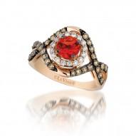 YQFQ 43 14k Strawberry Gold Neon Tangerine Fire Opal™ RIng with Chocolate Diamondsand Vanilla Diamonds