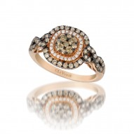 YQGH 101 14k Strawberry GoldFramed Clusters™ Ring with Chocolate Diamondsand Vanilla Diamonds