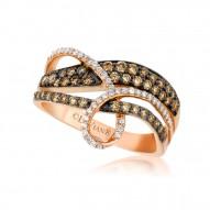 YQGM 21 14k Strawberry GoldGladiatorWeave™ Ring with Chocolate Diamondsand Vanilla Diamonds