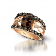YQII 307 14k Strawberry GoldChocolate QuartzRing with Chocolate Diamondsand Vanilla Diamonds