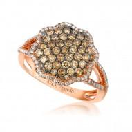 ZUAA 22 14k Strawberry GoldFramed Clusters™ Ring with Chocolate Diamondsand Vanilla Diamonds