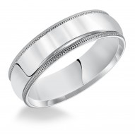 Goldman Comfort Fit Milgrain Edge Wedding Band 6mm, 14k White Gold