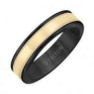 Triton  Black Tungsten(Primary) Band With 14Ky Insert Flat Milgrain Band - Sz 10