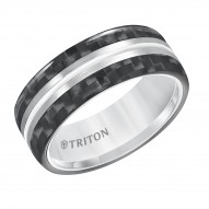 Triton White Tungsten Carbide 8MM Comfort Fit Band - Sz 10.5