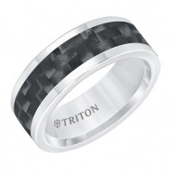 Tungsten Carbide 8MM Comfort Fit White With Black Center-Sz 10