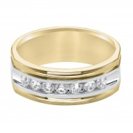 14K White and Yellow 1/2cttw Diamond Gents Band