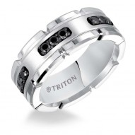 Triton White Tungsten Carbide/Ss 8MM Comfort Fit 1/3 Ct Dia Band-Sz 10