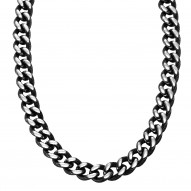 "Triton  Stainlessstl 22"" Textured Chain Neckklace/Black Ant."