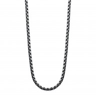 "Stntl Steel 22"" Sq. Box Chain With 1-.02 Ct Dia"