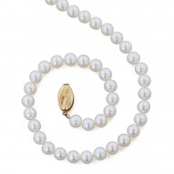 "14K 6+MM White Freshwater Cultured Pearl 16"" Necklace"