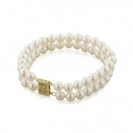 "14K 6+MM White Freshwater Cultured Pearl 7"" 2 Row Bracelet"